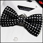 Black with Medium White Polkadots Bow Tie