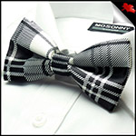 Mens Black & White Tartan Bow Tie