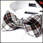 Mens Black White & Red Tartan Bow Tie