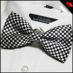 Mens Black and White Diamonds Bow Tie