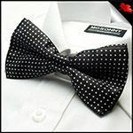 Mens Black with White Polkadots Bow Tie