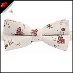 Beige with Brown Floral Pattern Bow Tie