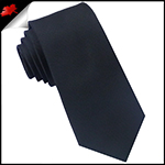 Mens 6cm Black Ribbed Slim Necktie