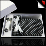 Black & White Crosshatch Tie Set