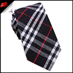 Black, Red & White Tartan Plaid Slim Tie