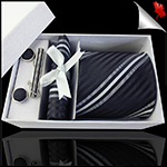 Black, White & Grey Narrow Stripes Tie Set