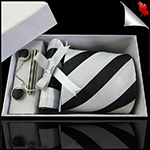 Black, White & Ivory Stripes Tie Set