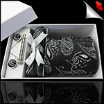 Black & White Paisley Mens Tie Set