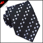Black & White Polka Dots Diagonal Stripes Mens Tie