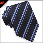 Textured Black with Cobalt and Midnight Blue Stripes Mens Tie