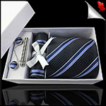 Textured Black with Cobalt and Midnight Blue Stripes Tie Set
