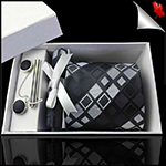Black with Grey & White Squares Tie Set