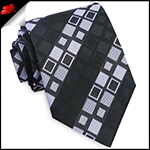 Black with Grey & White Squares Mens Tie