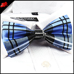 Blue and Black Tartan Bow Tie