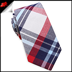 Dark Blue, Light Blue, Red & White Tartan Plaid Slim Tie