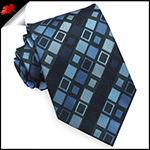 Light & Dark Blue Retro Squares Mens Tie
