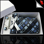 Light & Dark Blue Retro Squares Tie Set