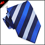 Dark Blue with White & Royal Blue Stripes Mens Tie