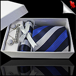 Dark Blue with White & Royal Blue Stripes Mens Tie Set