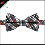 Boys Black, Grey, Red and White Tartan Bow Tie