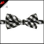 Boys Black, White and Grey Check Bow Tie