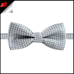 Boys Mid Silver with White Polka Dots Bow Tie