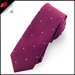 Burgundy Pin Dot Mens Skinny Necktie