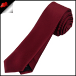 Mens Burgundy Red Plain Skinny Tie