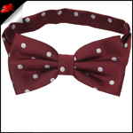 Burgundy Polka Dot Mens Bow Tie