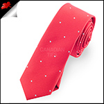 Cherry Red Pin Dot Mens Skinny Necktie