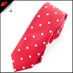 Cherry Red Polka Dot Mens Skinny Necktie