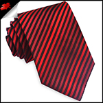 Cherry, Scarlet & Black Narrow Stripes Mens Tie