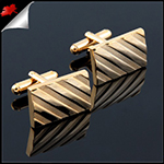 Mens Classic Gold Diagonal Cufflinks