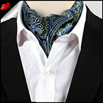 Men's Dark Blue, Light Blue & Green Paisley Ascot Cravat