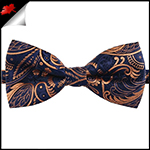 Dark Blue with Gold Plume Design Bow Tie