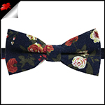 Dark Blue with Roses Floral Pattern Bow Tie