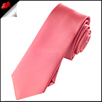 Mens Dark Coral Melon Plain Skinny Tie