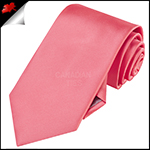 Mens Dark Coral Melon Plain Necktie