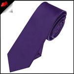 Mens Dark Purple Plain Skinny Tie
