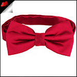 Mens Scarlet Red Plain Bow Tie