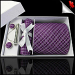 Grape & White Crosshatch Tie Set