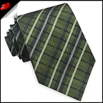 Green, Black and White Plaid Mens Tie