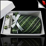 Green, Black and White Plaid Tie Set