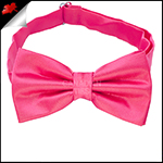 Mens Bright Hot Pink Plain Bow Tie