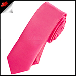 Mens Bright Hot Pink Plain Skinny Tie