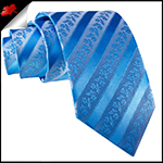 Light Blue Floral Stripes Necktie