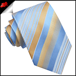 Light Blue, White & Gold Stripes Mens Tie