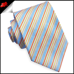 Light Blue with Orange and Gold Stripes Mens Tie