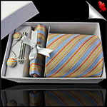 Light Blue with Orange and Gold Stripes Mens Tie Set