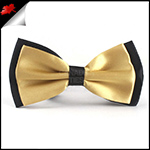Light Gold with Black Black Bow Tie